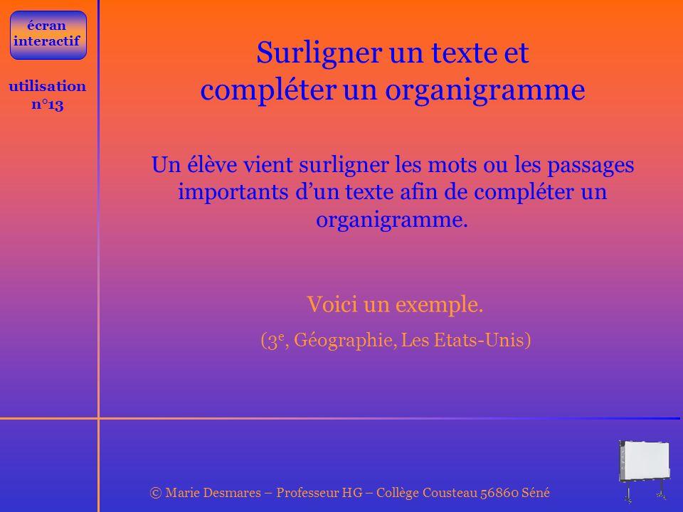 © Marie Desmares – Professeur HG – Collège Cousteau 56860 Séné utilisation n°13 Surligner un texte et compléter un organigramme Un élève vient surlign