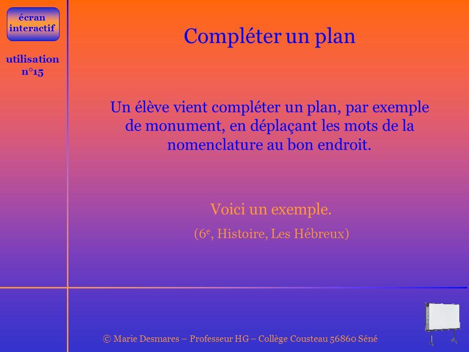 © Marie Desmares – Professeur HG – Collège Cousteau 56860 Séné utilisation n°15 Compléter un plan Un élève vient compléter un plan, par exemple de mon