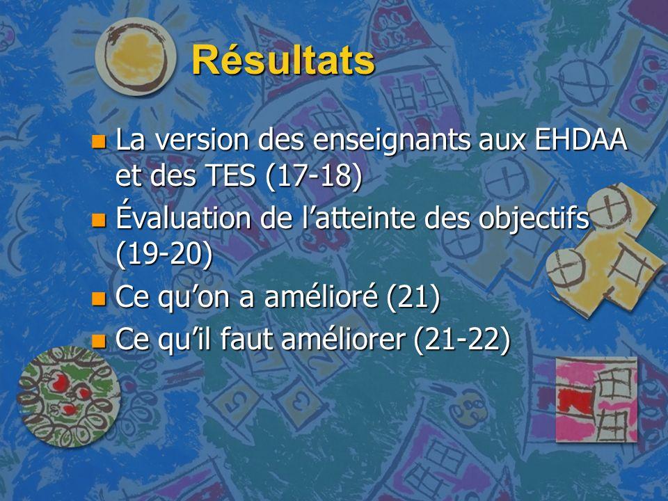 Résultats n La version des enseignants aux EHDAA et des TES (17-18) n Évaluation de latteinte des objectifs (19-20) n Ce quon a amélioré (21) n Ce quil faut améliorer (21-22)