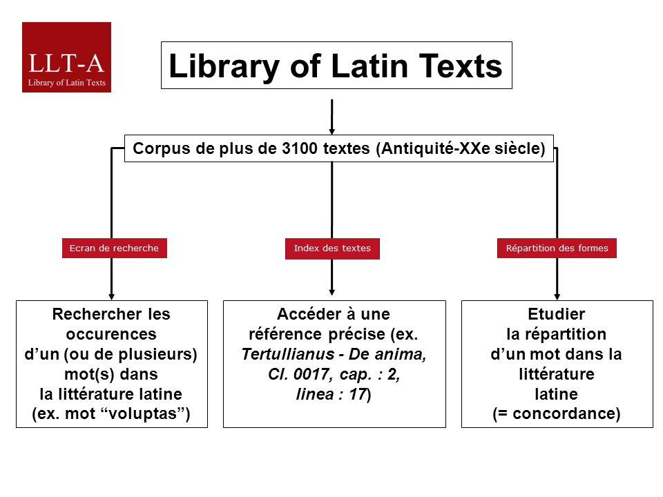Library of Latin Texts Rechercher les occurences dun (ou de plusieurs) mot(s) dans la littérature latine (ex.