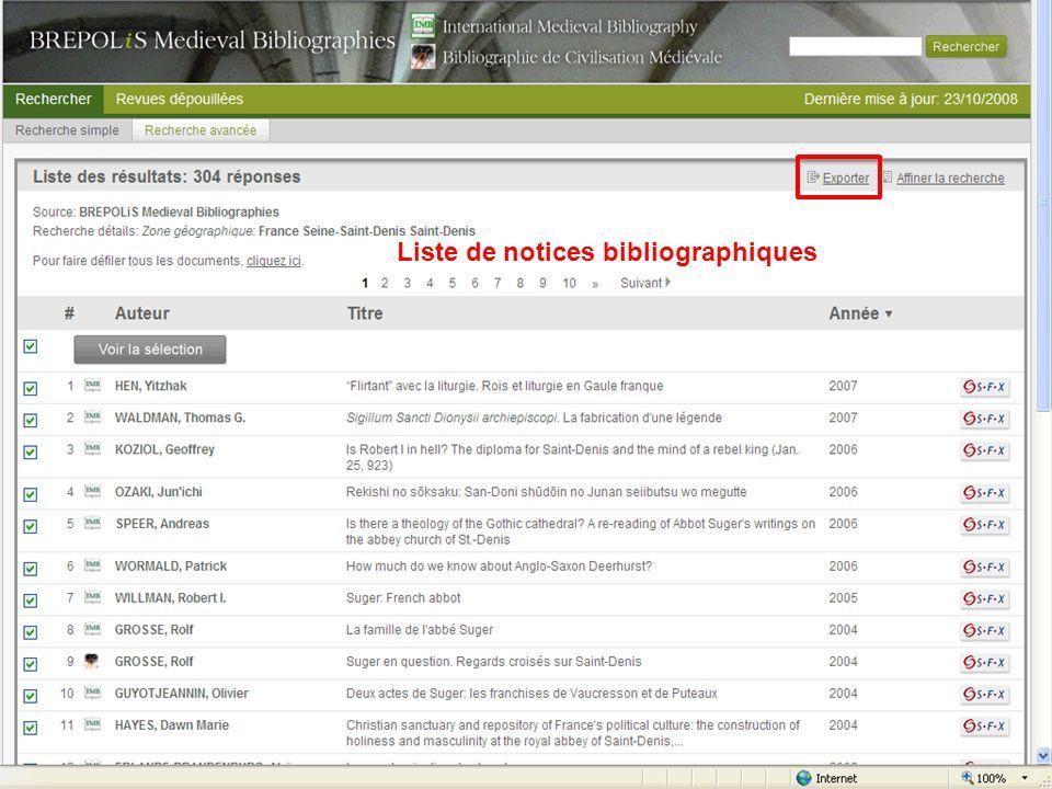 Liste de notices bibliographiques