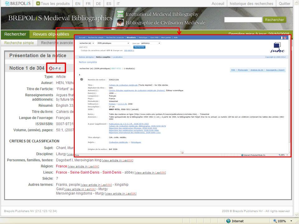 La base de données est compatible avec lOpenURL ce qui permet de définir des liens vers des Ressources externes (catalogues de bibliothèque, Revues en ligne, etc.)
