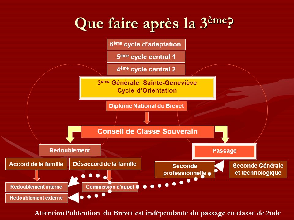 Que faire après la 3 ème ? 3 ème Générale Sainte-Geneviève Cycle dOrientation Diplôme National du Brevet 6 ème cycle dadaptation Seconde professionnel
