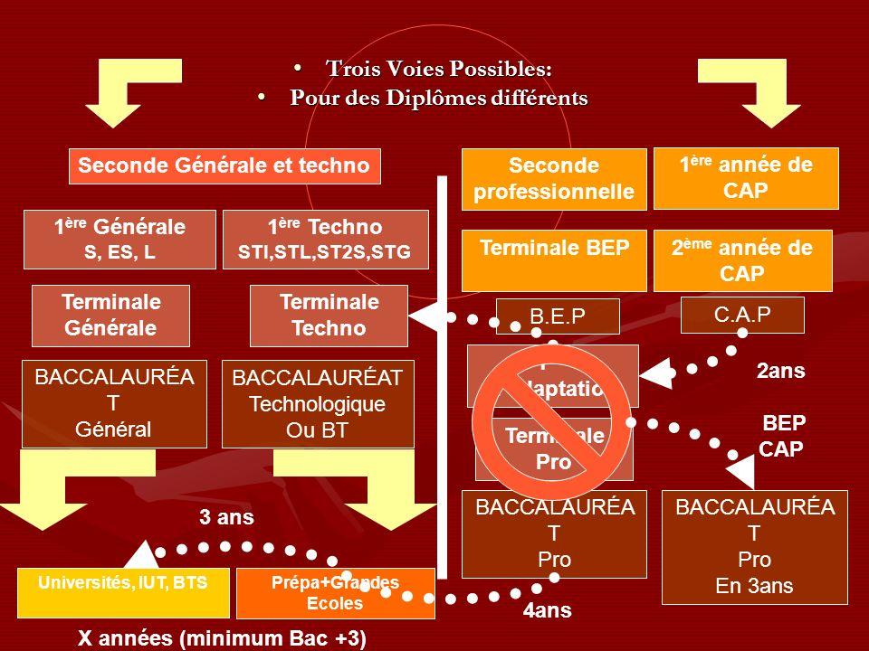 Seconde Générale et techno Seconde professionnelle 1 ère Générale S, ES, L Terminale Générale BACCALAURÉA T Général Universités, IUT, BTS Prépa+Grandes Ecoles 1 ère Techno STI,STL,ST2S,STG Terminale Techno BACCALAURÉAT Technologique Ou BT 3 ans X années (minimum Bac +3) Terminale BEP2 ème année de CAP 1 ère année de CAP C.A.P B.E.P 1 ère Pro Terminale Pro BACCALAURÉA T Pro 4ans 2ans BEP CAP 1 ère dadaptation Trois Voies Possibles:Trois Voies Possibles: Pour des Diplômes différentsPour des Diplômes différents BACCALAURÉA T Pro En 3ans