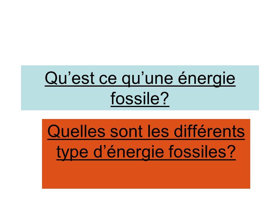 Sommaire Quest ce quune énergie fossile .
