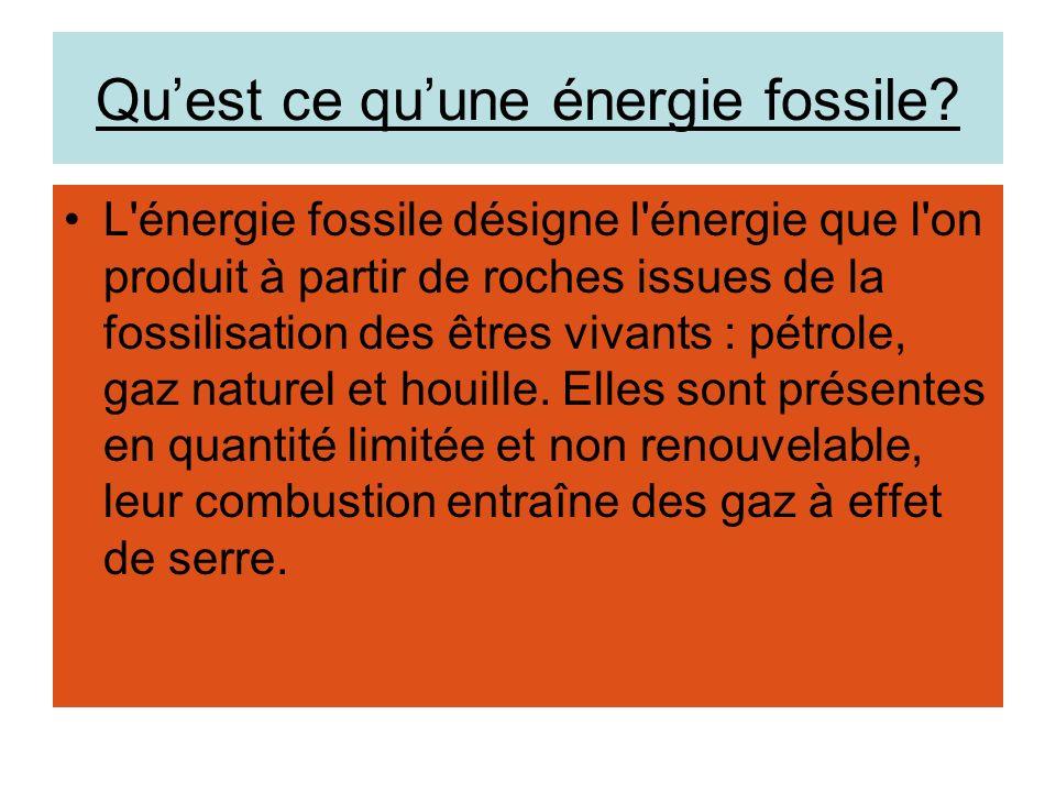 Quelles sont les différents type dénergie fossiles.