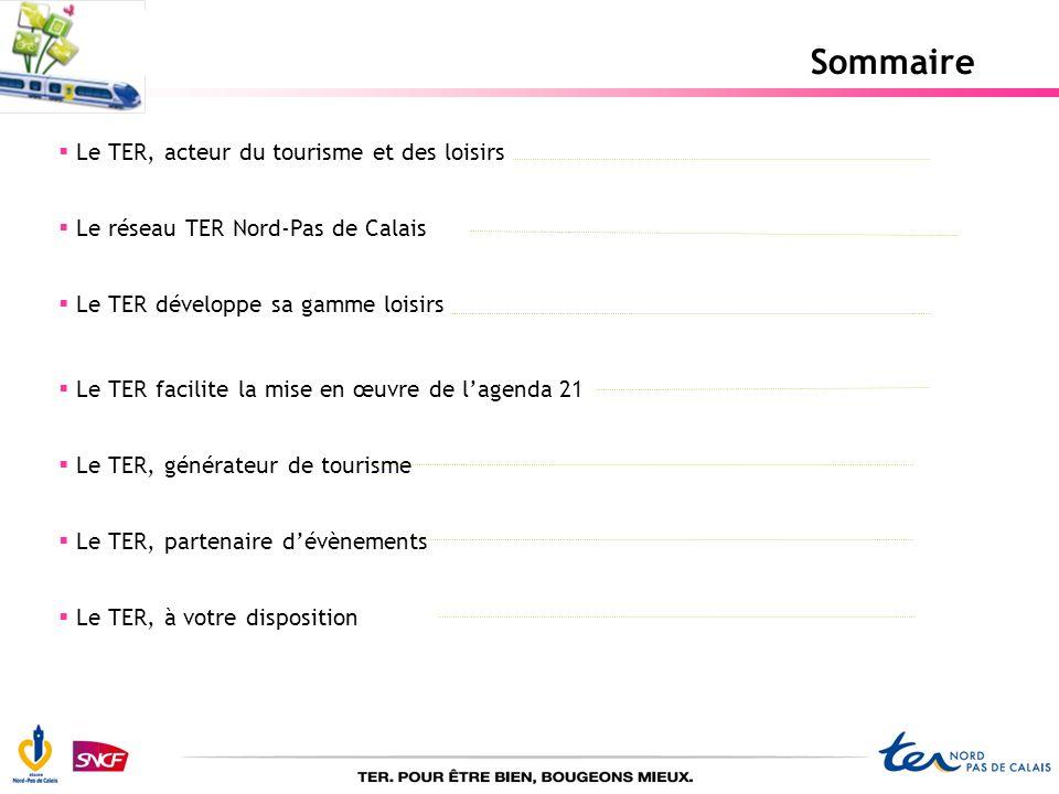 Sommaire Le TER, acteur du tourisme et des loisirs Le réseau TER Nord-Pas de Calais Le TER développe sa gamme loisirs Le TER facilite la mise en œuvre