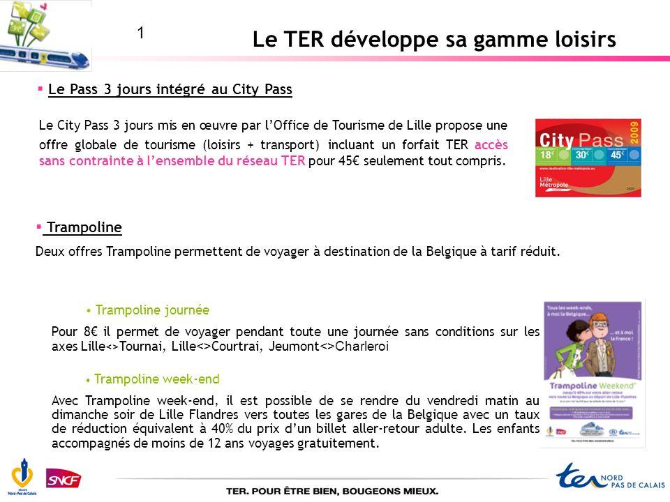 Le TER développe sa gamme loisirs Le Pass 3 jours intégré au City Pass Le City Pass 3 jours mis en œuvre par lOffice de Tourisme de Lille propose une