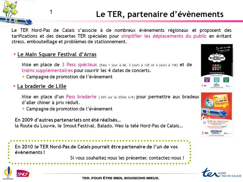 Le TER, partenaire dévènements Le Main Square Festival dArras Mise en place de 3 Pass spéciaux (Pass 1 jour à 6, 3 jours à 12 et 4 jours à 15) et de t