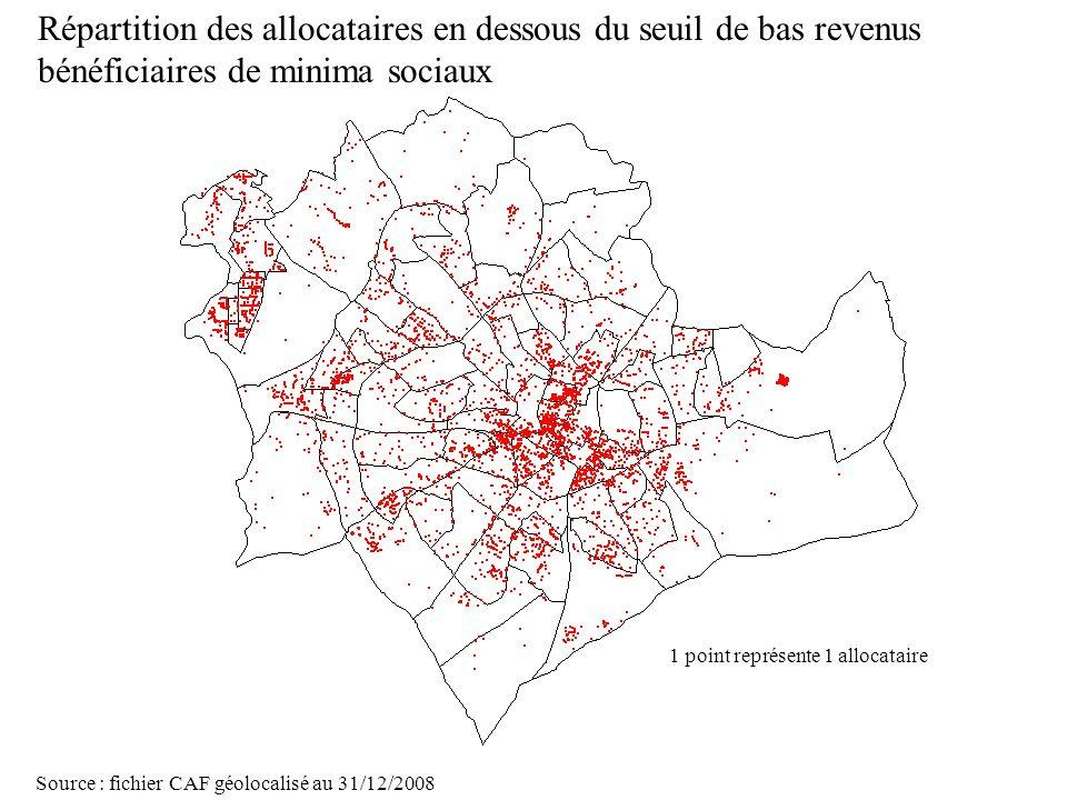 Page 23 La géolocalisation Elodie Fille - Roger Rabier11/06/2009 Répartition des allocataires en dessous du seuil de bas revenus bénéficiaires de mini