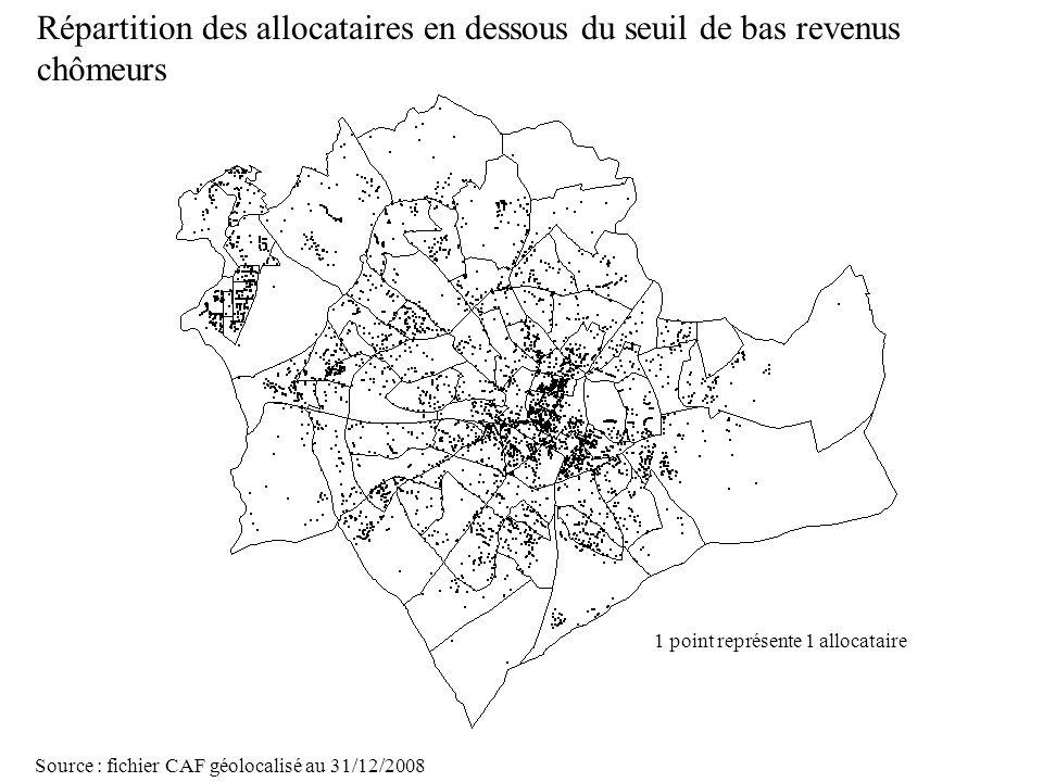 Page 24 La géolocalisation Elodie Fille - Roger Rabier11/06/2009 Répartition des allocataires en dessous du seuil de bas revenus chômeurs Source : fic