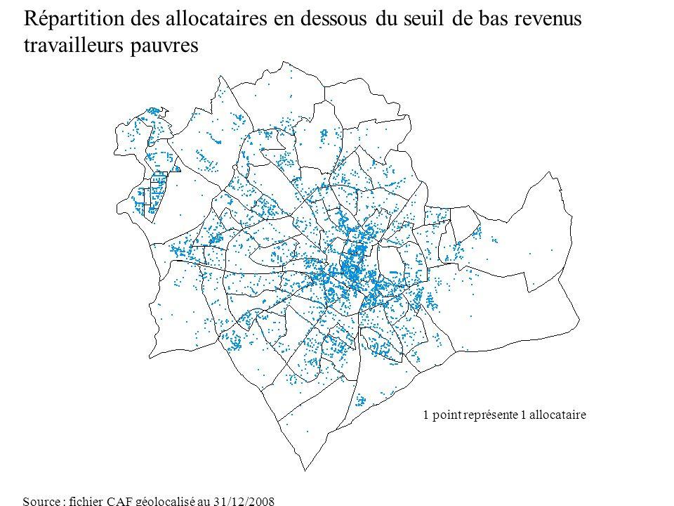 Page 25 La géolocalisation Elodie Fille - Roger Rabier11/06/2009 Répartition des allocataires en dessous du seuil de bas revenus travailleurs pauvres