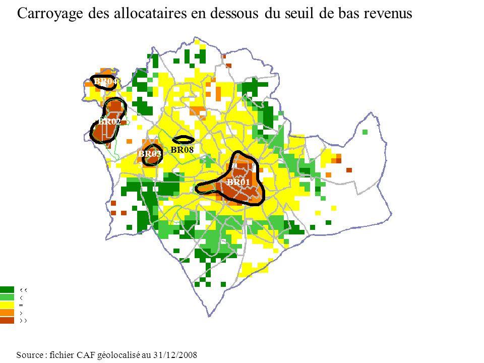 Page 29 La géolocalisation Elodie Fille - Roger Rabier11/06/2009 Carroyage des allocataires en dessous du seuil de bas revenus Source : fichier CAF gé