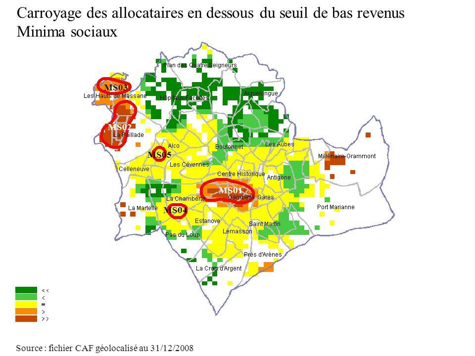Page 30 La géolocalisation Elodie Fille - Roger Rabier11/06/2009 Carroyage des allocataires en dessous du seuil de bas revenus Minima sociaux Source :