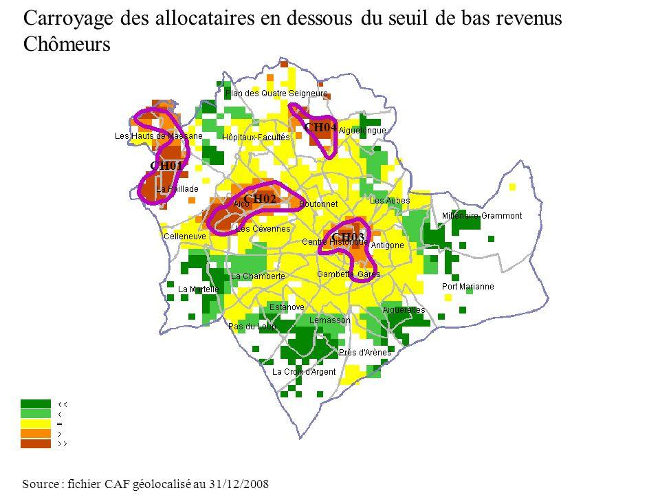 Page 31 La géolocalisation Elodie Fille - Roger Rabier11/06/2009 Carroyage des allocataires en dessous du seuil de bas revenus Chômeurs Source : fichi