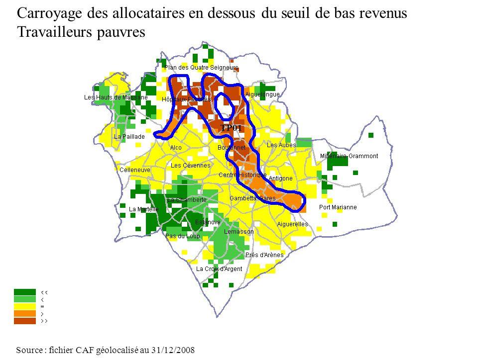 Page 32 La géolocalisation Elodie Fille - Roger Rabier11/06/2009 Carroyage des allocataires en dessous du seuil de bas revenus Travailleurs pauvres So