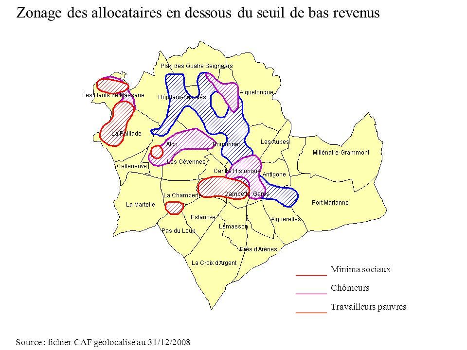 Page 33 La géolocalisation Elodie Fille - Roger Rabier11/06/2009 Zonage des allocataires en dessous du seuil de bas revenus Source : fichier CAF géolo