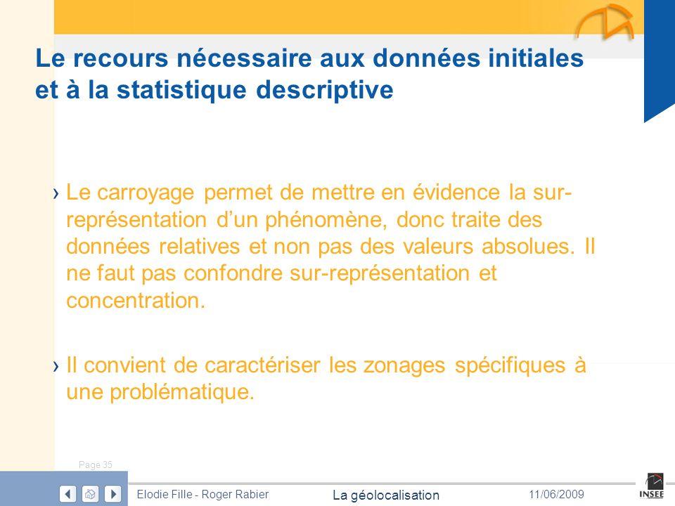 Page 35 La géolocalisation Elodie Fille - Roger Rabier11/06/2009 Le recours nécessaire aux données initiales et à la statistique descriptive Le carroy