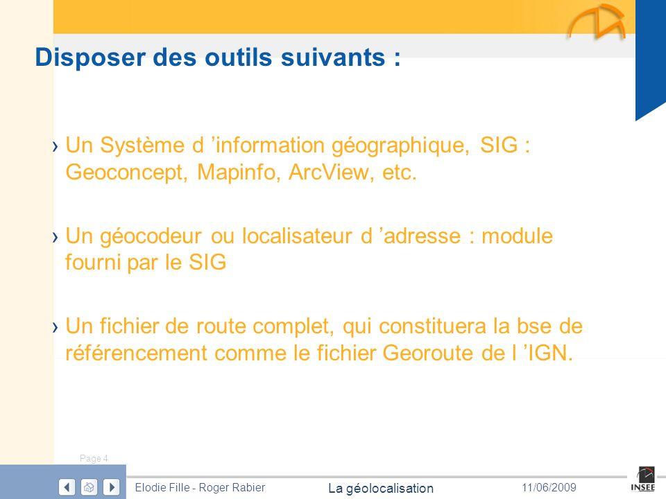 Page 4 La géolocalisation Elodie Fille - Roger Rabier11/06/2009 Disposer des outils suivants : Un Système d information géographique, SIG : Geoconcept