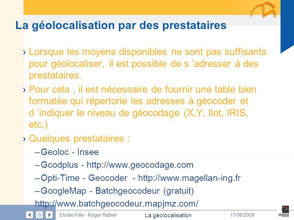 Page 7 La géolocalisation Elodie Fille - Roger Rabier11/06/2009 GEOLOC GEOLOC est une application développée par lInsee qui rapproche ladresse du fichier à géocoder du référentiel quil aura fabriqué pour le géocodage.