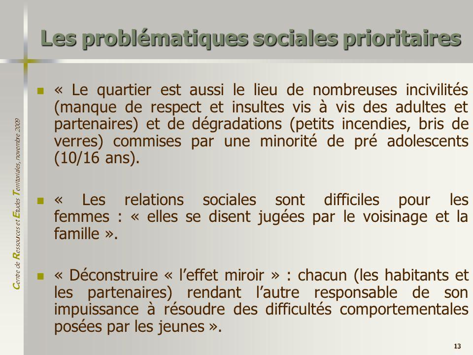 C entre de R essources et E tudes T erritoriales, novembre 2009 13 Les problématiques sociales prioritaires « Le quartier est aussi le lieu de nombreu