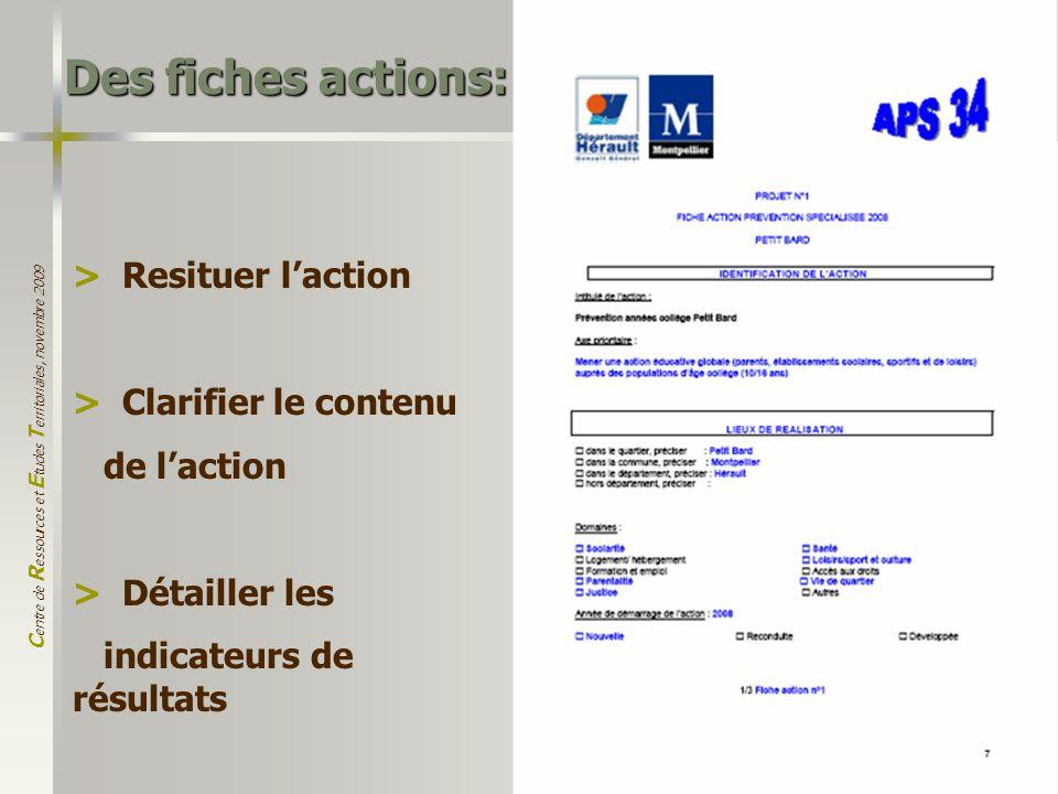 C entre de R essources et E tudes T erritoriales, novembre 2009 15 Des fiches actions: > Resituer laction > Clarifier le contenu de laction > Détaille
