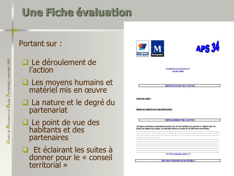 C entre de R essources et E tudes T erritoriales, novembre 2009 17 Une Fiche évaluation Portant sur : Le déroulement de laction Les moyens humains et