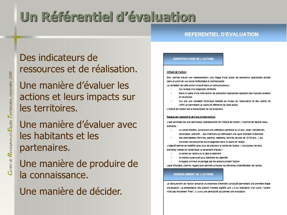 C entre de R essources et E tudes T erritoriales, novembre 2009 18 Des indicateurs de ressources et de réalisation. Une manière dévaluer les actions e