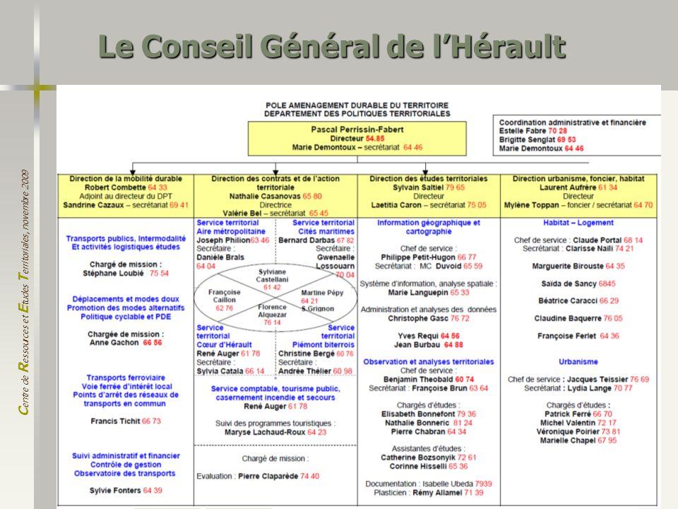 C entre de R essources et E tudes T erritoriales, novembre 2009 2 Le Conseil Général de lHérault