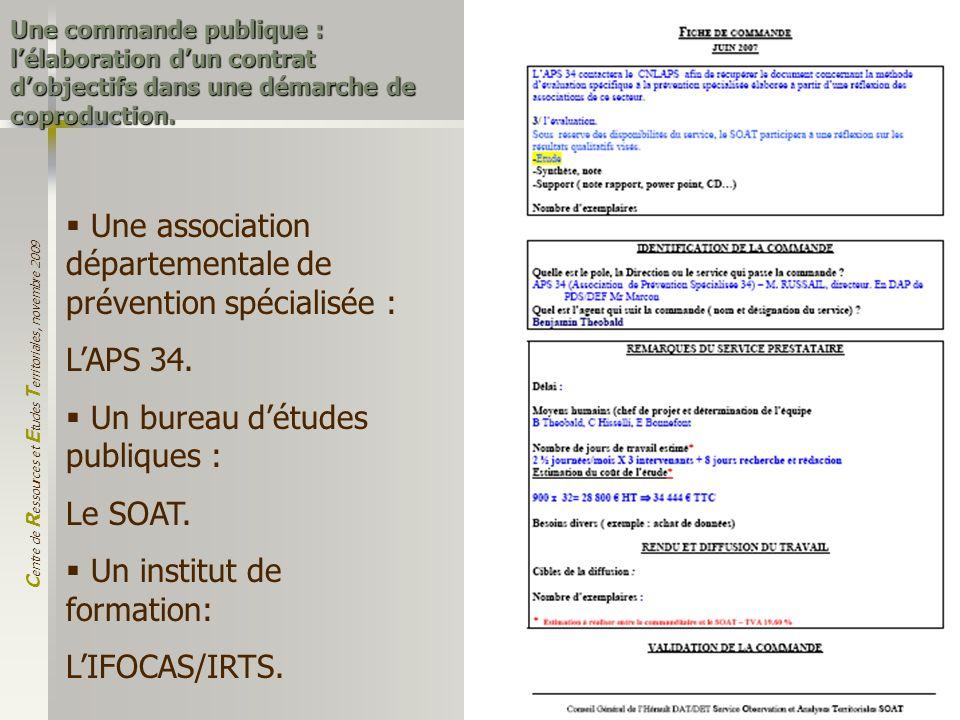 C entre de R essources et E tudes T erritoriales, novembre 2009 5 Une commande publique : lélaboration dun contrat dobjectifs dans une démarche de cop