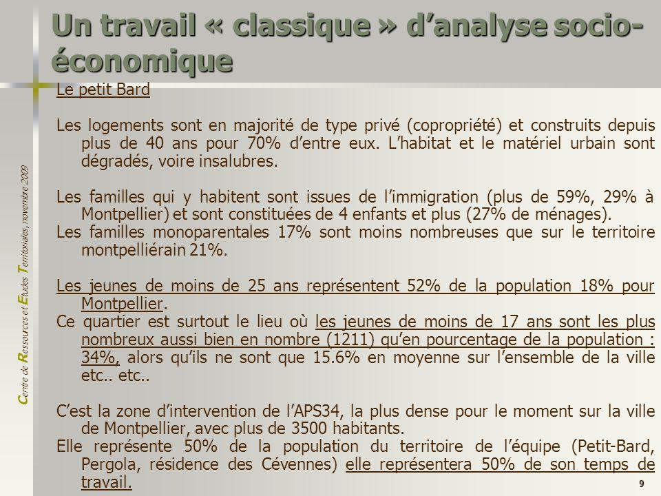 C entre de R essources et E tudes T erritoriales, novembre 2009 9 Un travail « classique » danalyse socio- économique Le petit Bard Les logements sont