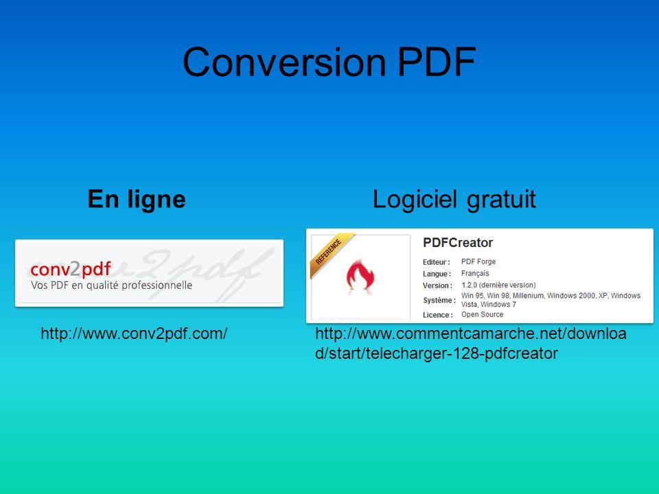 Conversion PDF En ligneLogiciel gratuit http://www.conv2pdf.com/http://www.commentcamarche.net/downloa d/start/telecharger-128-pdfcreator