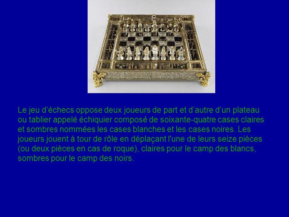 Le jeu déchecs oppose deux joueurs de part et dautre dun plateau ou tablier appelé échiquier composé de soixante-quatre cases claires et sombres nommé