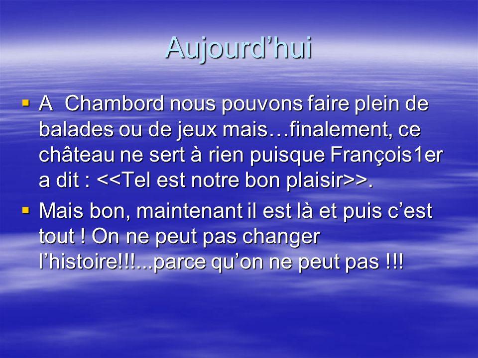 Aujourdhui A Chambord nous pouvons faire plein de balades ou de jeux mais…finalement, ce château ne sert à rien puisque François1er a dit : >. A Chamb