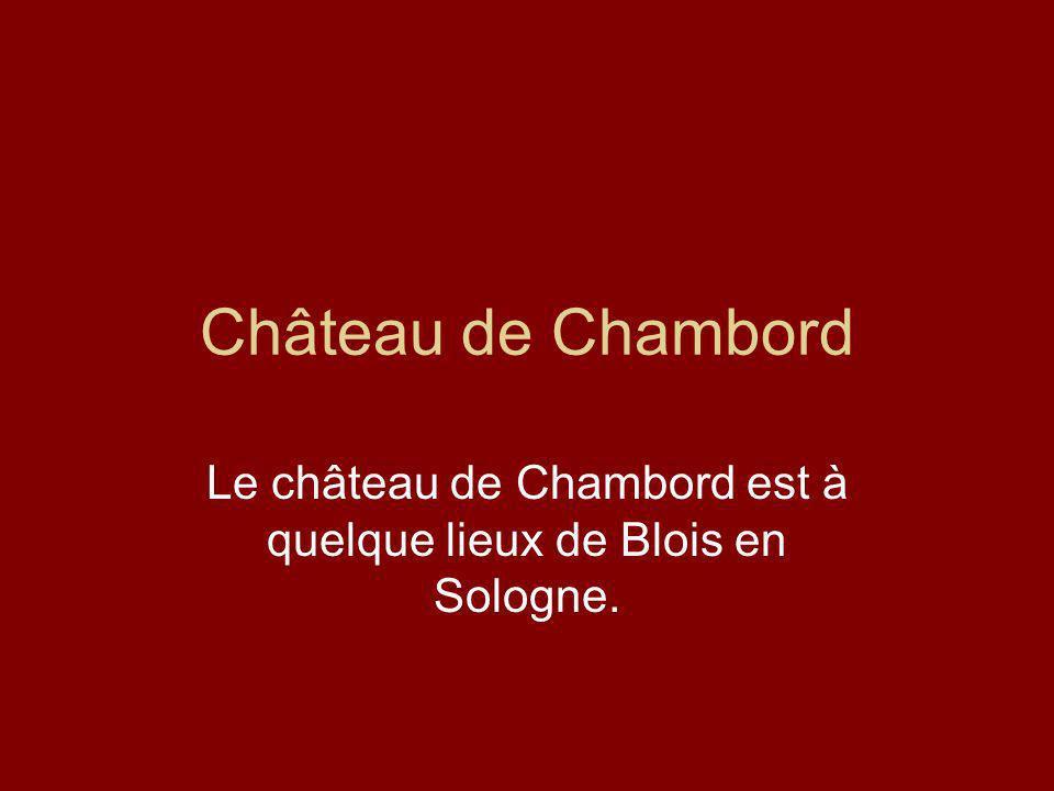 Château de Chambord Le château de Chambord est à quelque lieux de Blois en Sologne.
