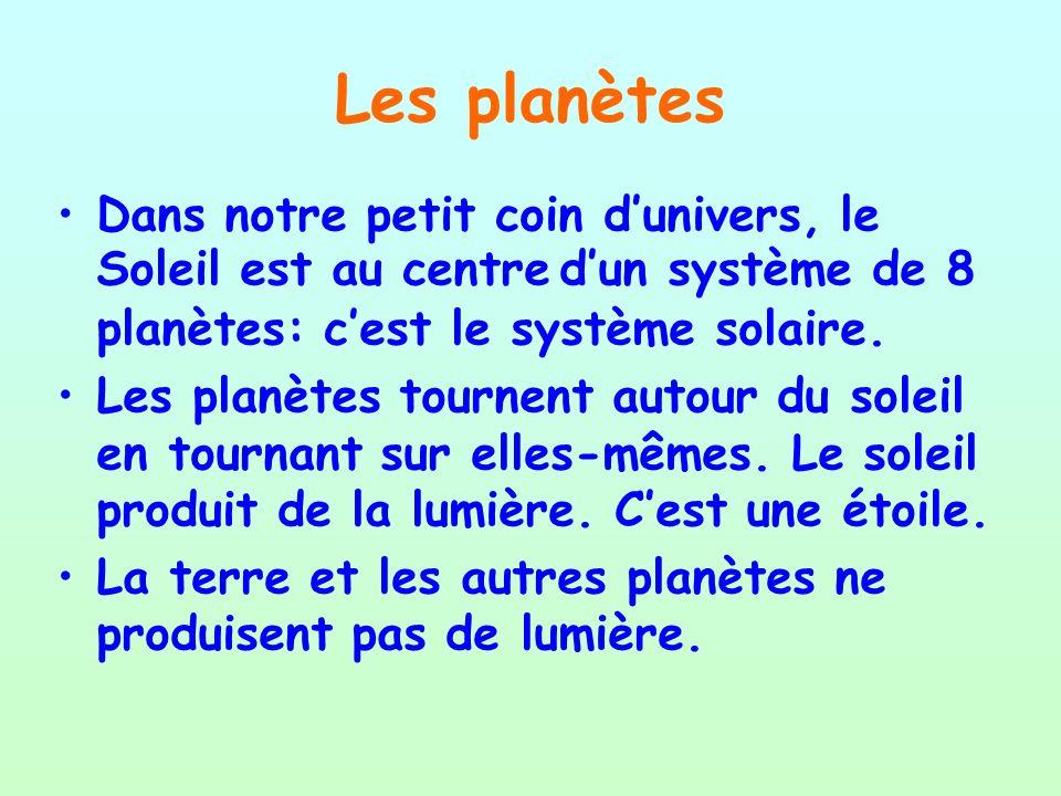 Les planètes Dans notre petit coin dunivers, le Soleil est au centre dun système de 8 planètes: cest le système solaire. Les planètes tournent autour