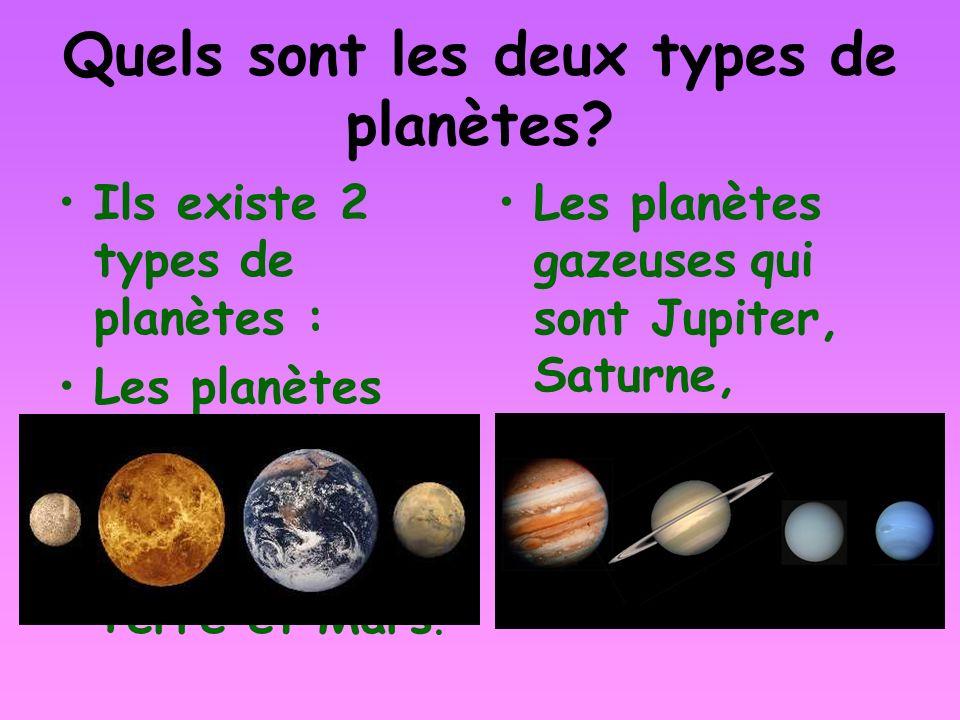 Quels sont les deux types de planètes? Ils existe 2 types de planètes : Les planètes rocheuses qui sont Mercure, Venus, La Terre et Mars. Les planètes
