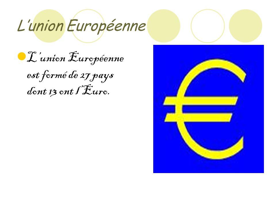 Lunion Européenne Lunion Européenne est formé de 27 pays dont 13 ont lEuro.