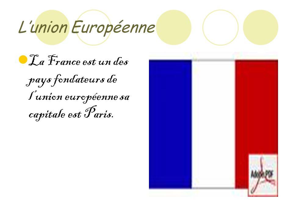 Lunion Européenne La France est un des pays fondateurs de lunion européenne sa capitale est Paris.