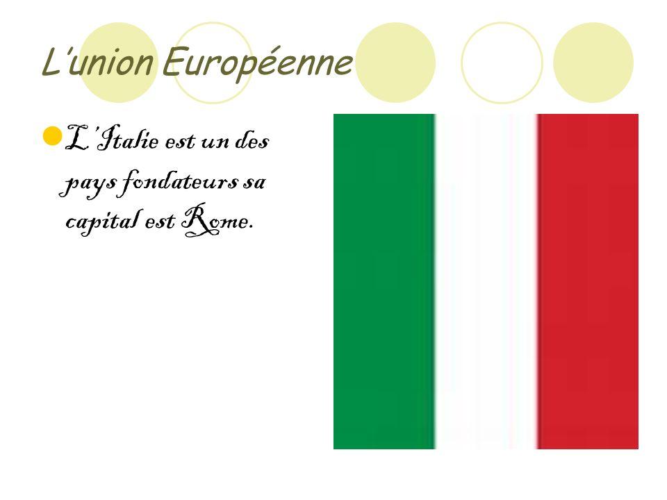 Lunion Européenne LItalie est un des pays fondateurs sa capital est Rome.