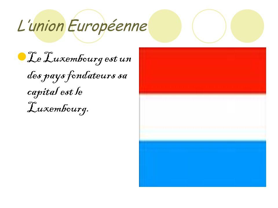 Lunion Européenne Le Luxembourg est un des pays fondateurs sa capital est le Luxembourg.