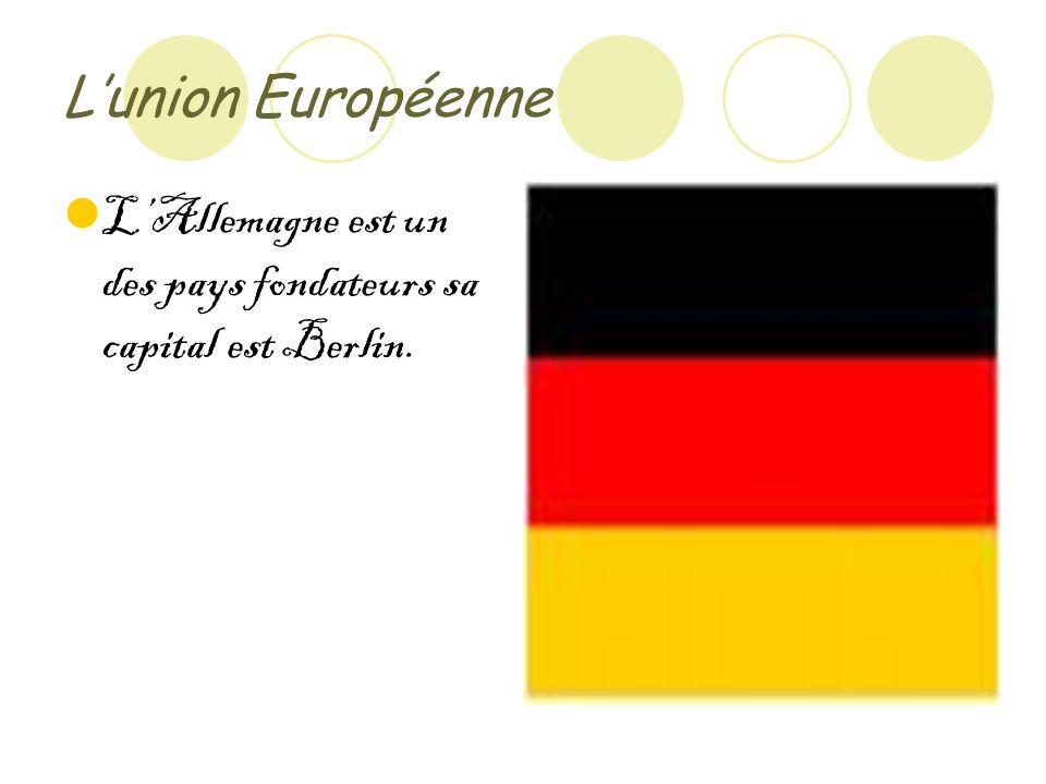 Lunion Européenne LAllemagne est un des pays fondateurs sa capital est Berlin.
