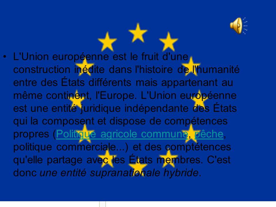 Union européenne (*)(*) L Union européenne est le fruit d une construction inédite dans l histoire de l humanité entre des États différents mais appartenant au même continent, l Europe.
