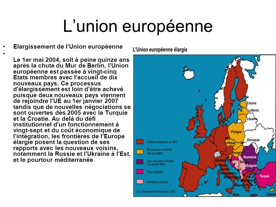 Lunion européenne Elargissement de l'Union européenne Le 1er mai 2004, soit à peine quinze ans après la chute du Mur de Berlin, l'Union européenne est