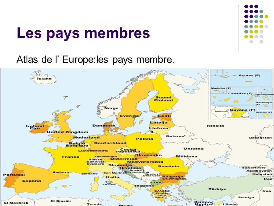 Les pays membres Atlas de l Europe:les pays membre.
