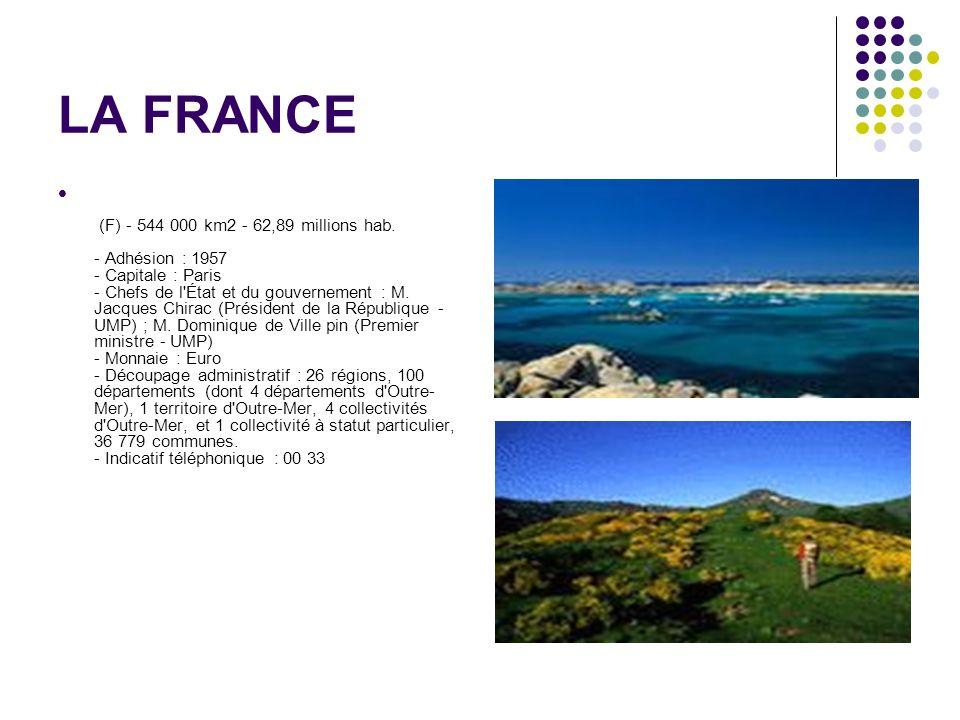 LA FRANCE (F) - 544 000 km2 - 62,89 millions hab. - Adhésion : 1957 - Capitale : Paris - Chefs de l'État et du gouvernement : M. Jacques Chirac (Prési