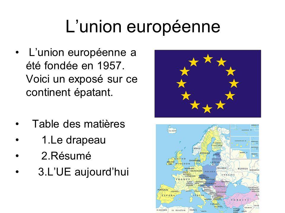 Lunion européenne Lunion européenne a été fondée en 1957. Voici un exposé sur ce continent épatant. Table des matières 1.Le drapeau 2.Résumé 3.LUE auj