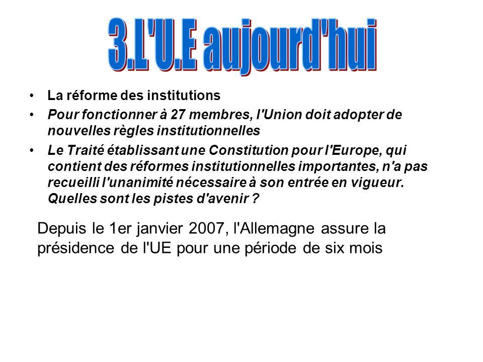 La réforme des institutions Pour fonctionner à 27 membres, l'Union doit adopter de nouvelles règles institutionnelles Le Traité établissant une Consti