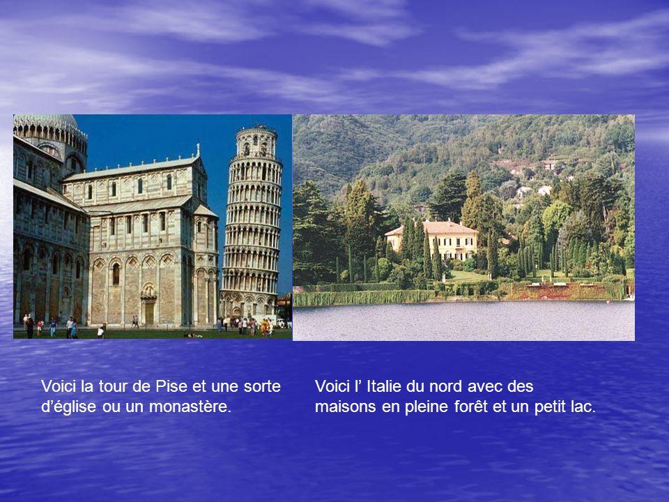 Voici la tour de Pise et une sorte déglise ou un monastère.
