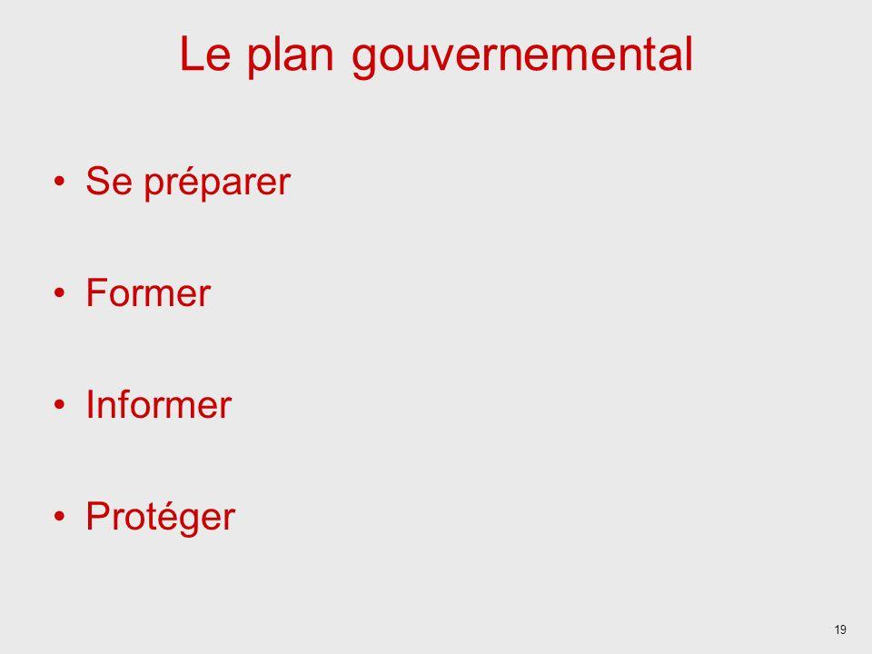 19 Le plan gouvernemental Se préparer Former Informer Protéger